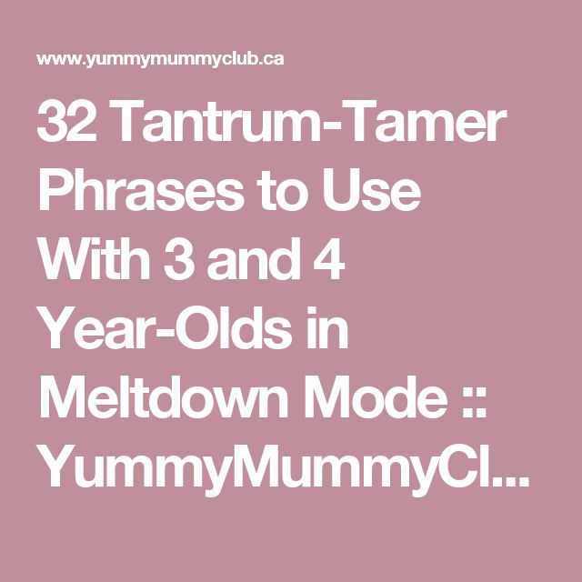32 Tantrum-Tamer Phrases to Use With 3 and 4 Year-Olds in Meltdown Mode :: YummyMummyClub.ca