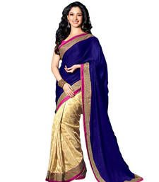 Buy Bollywood Blue embroidered georgette saree with blouse tamanna-bhatia-saree online