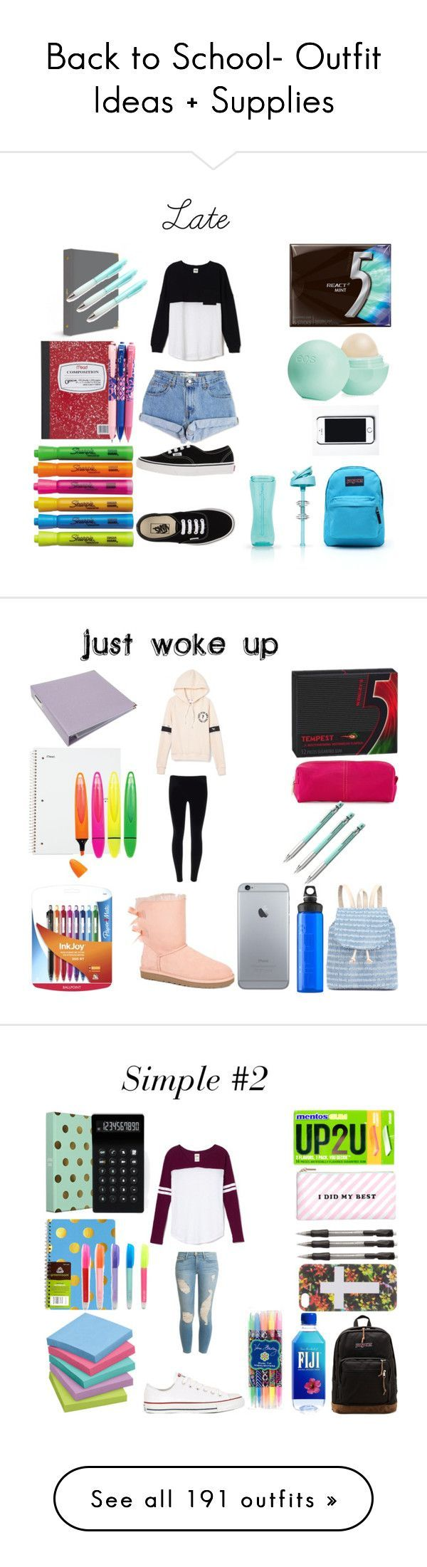 """""""Back to School- Outfit Ideas + Supplies"""" by bubbles-a ❤ liked on Polyvore featuring Victoria's Secret PINK, Levi's, Vans, Eos, JanSport, Free People, Sharpie, Vera Bradley, UGG Australia and Neiman Marcus"""