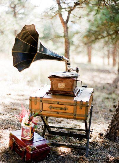 Phonograph and Vintage Luggage (art deco wedding)