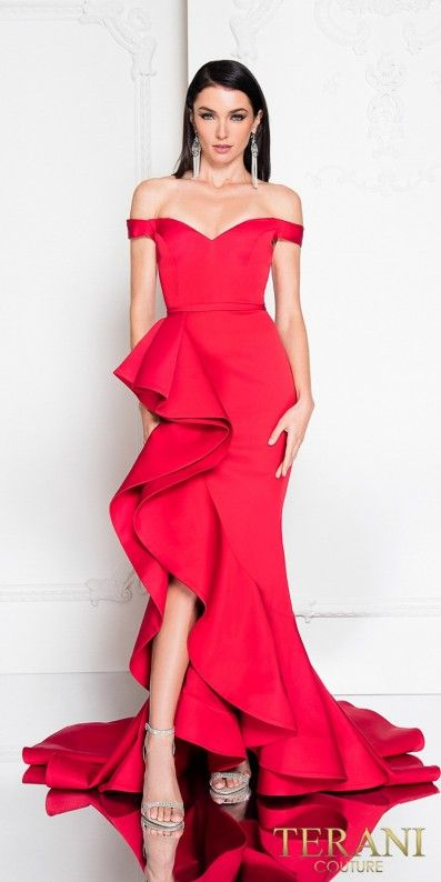 8c6bfa5e1c Dance the night away in the striking Sweetheart Off the Shoulder Ruffle  Slit Fitted Evening Dress