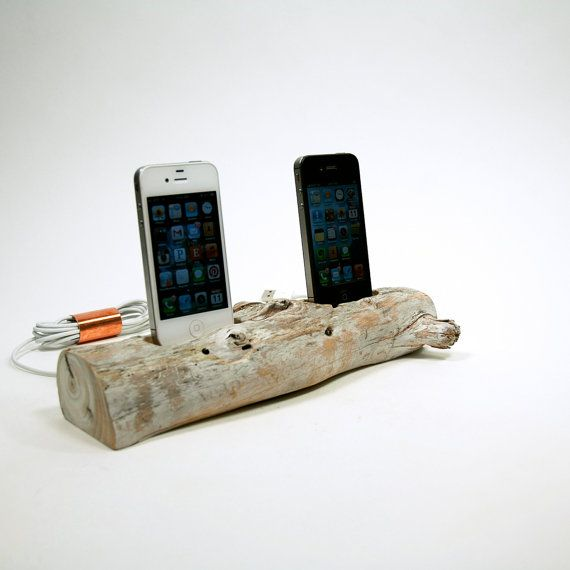 Driftwood iPhone Dock for 2 iPhone 4's by suzieautomatic on Etsy