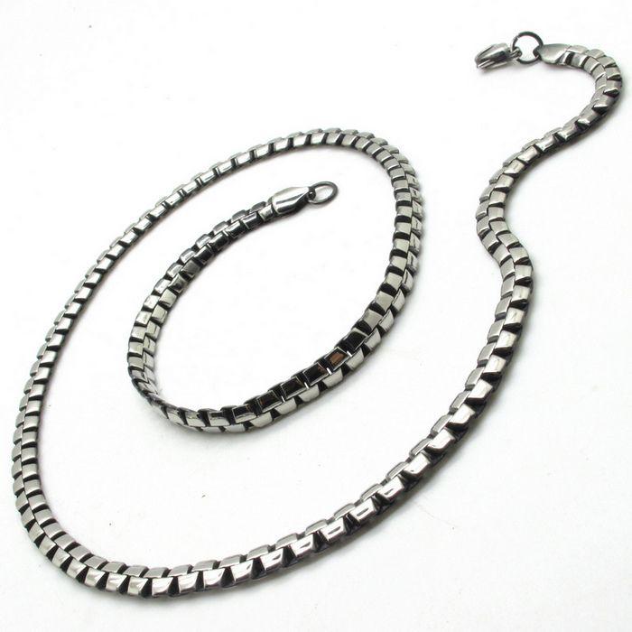 Toptan fiyat 22.44 inç erkek moda gümüş koni link zinciri kolye 316l paslanmaz çelik zincir(China (Mainland))