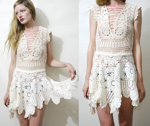 White CROCHET Dress Vintage Lace Dress Lace-up Corset Chest Crochet Mini Dress Boho Bohemian Hippie Gypsy Handmade xxs xs s