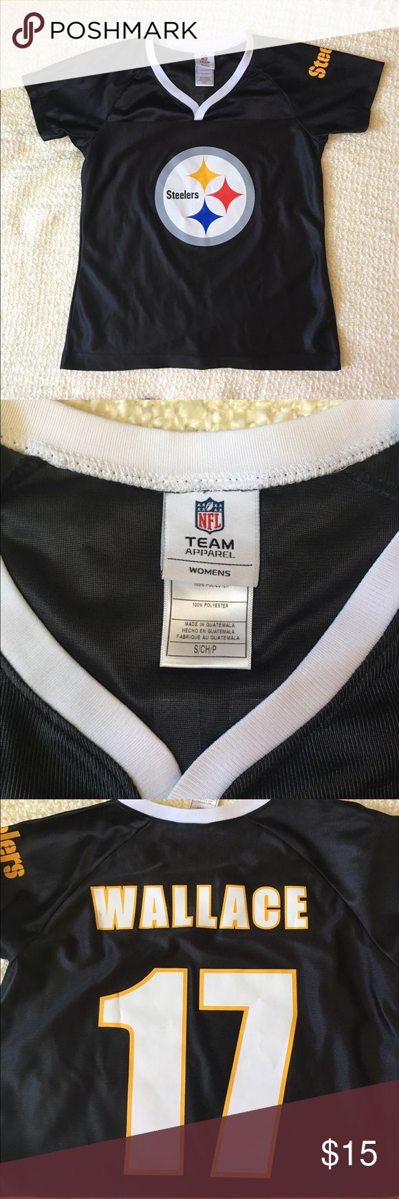 🏈NWOT WOMEN'S STEELER JERSEY Authentic NFL apparel throw back Wallace jersey. #17. NWOT. No smoking home. NFL TEAM APPAREL  Tops Tees - Short Sleeve
