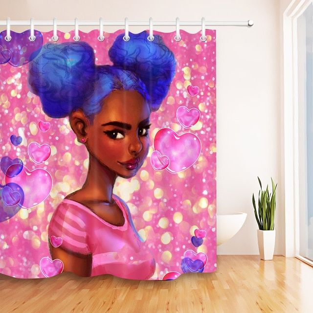 Afro Hair Girl African American Woman Shiny Heart Waterproof Shower Curtain Polyester Fabric Bathroom Decor Curtain 12hooks Set Revi Afro Hair Girl Fabric Shower Curtains Girls With Black Hair