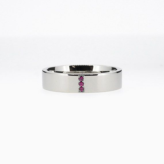 Narrow Line Ring with Ruby in Palladium