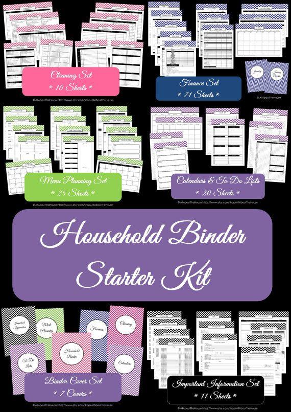 Household Binder Printables - Home Binder - HomeOrganisation- Starter Planner -PDF Printable-Chevron Printable-Perpetual Planner-BinderCover on Etsy, $30.21