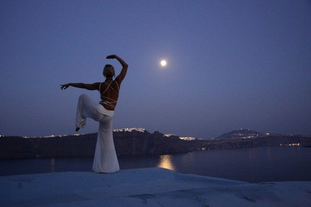 Full moon yoga in Oia village, Santorini island, Greece. - www.oiamansion.com
