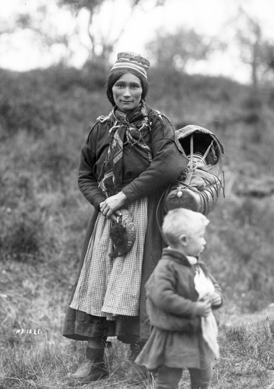 Forest sami woman and her children, Sweden