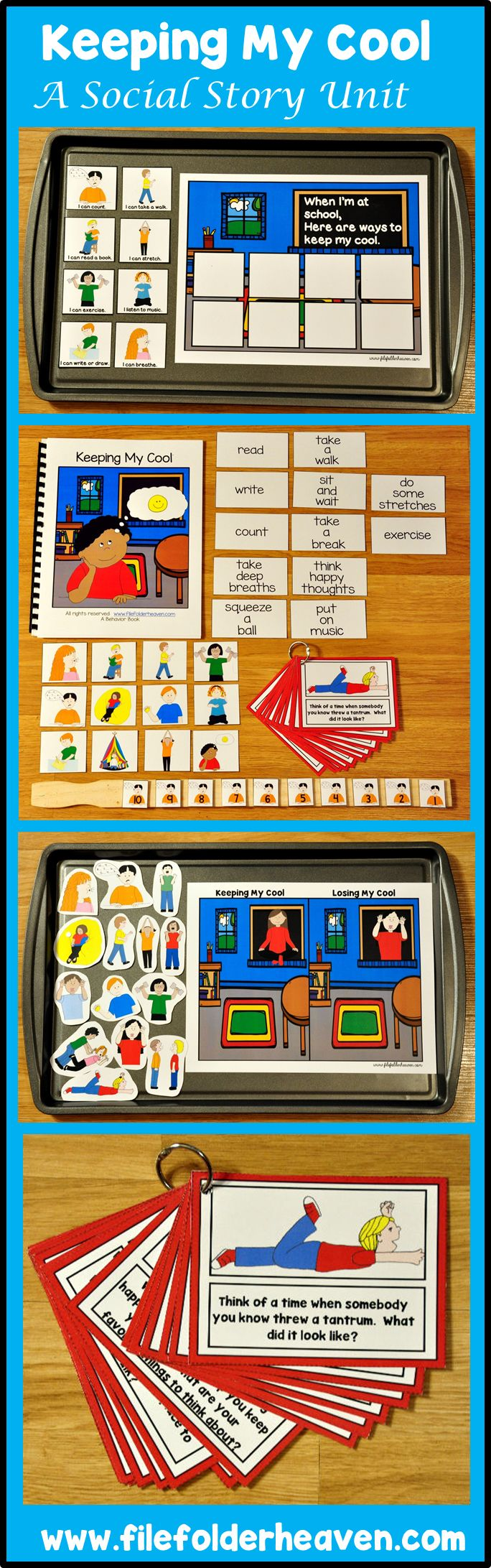 "This Social Story Unit, ""Keeping My Cool,"" teaches students strategies for ""keeping their cool,"" at school.  This unit includes:  1 interactive adapted book, 1 Sorting Activity, 1 Matching Activity, 1 Set of Think and Chat Cards, and 1 Set of ""Keeping My Cool"" Coloring Pages.  This unit works well as a small group activity and especially with social skills groups because the activities are designed to foster conversations about ""keeping our cool,"" at school."