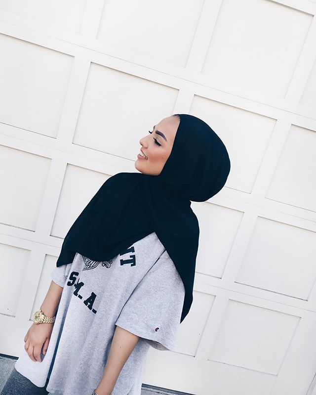 Pin By Halimah Hysaw On Hijabi Style Pinterest Black Hijab Thrifting And Grey