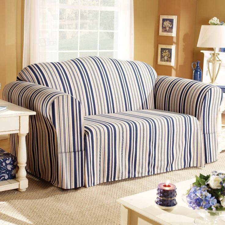Sure Fit Indigo Blue Stripe Sofa Slipcover Box Cushion