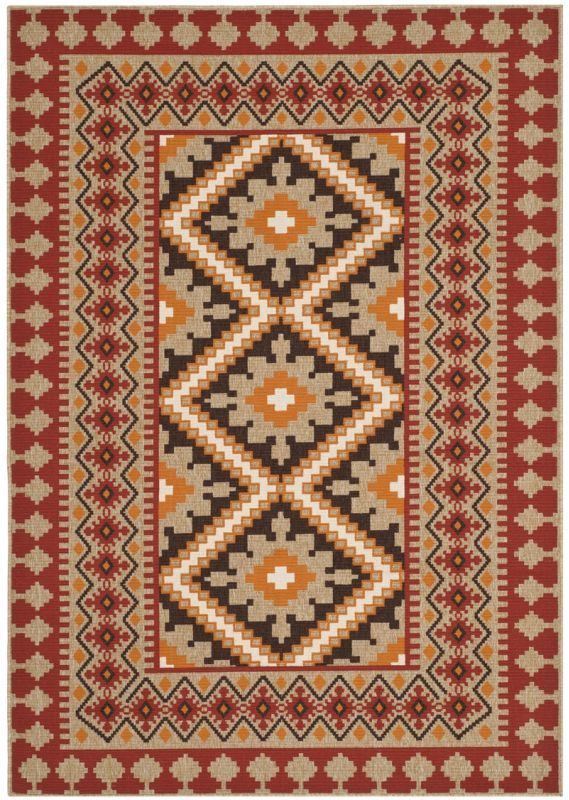 Safavieh VER099-334 Veranda Red and Natural Indoor / Outdoor Power Loomed Polypr 4 x 6 Home Decor Rugs Rugs