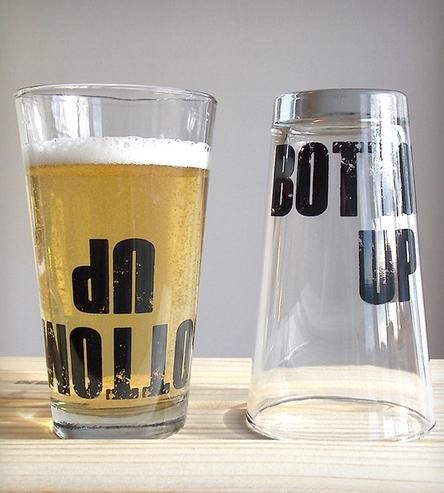 """""""Bottoms Up"""" Upside Down Pint Glasses."""