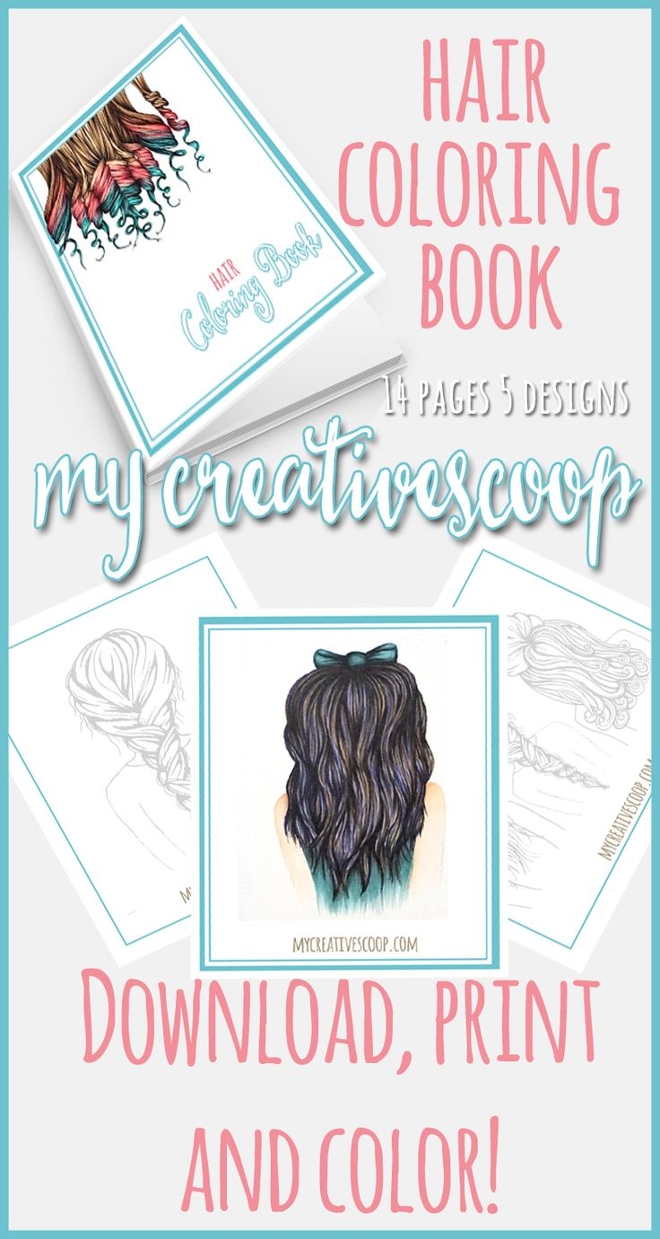 Digital Coloring Book. Coloring Hair, practice your hair techniques and color…