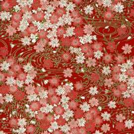 Origami Paper - Coral/White Cherry Blossoms on Red