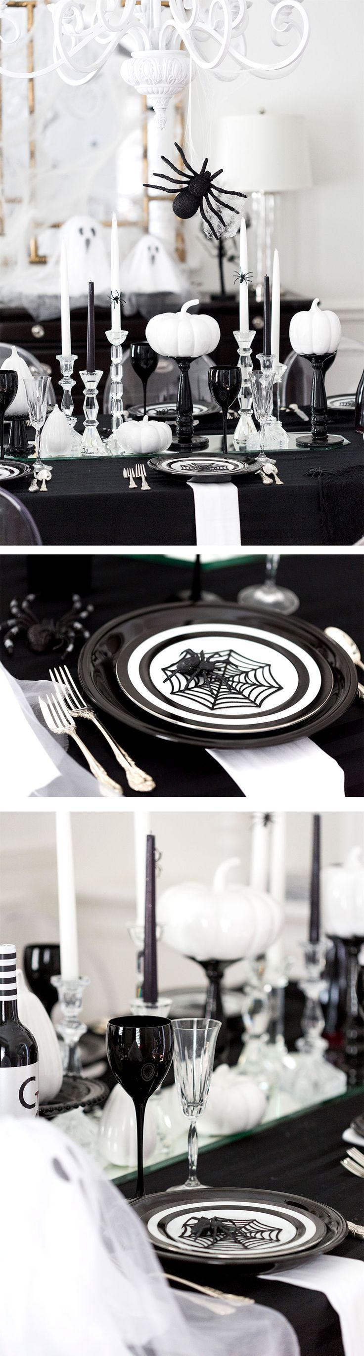 Tips and ideas for throwing a Spooky Black & White Halloween Dinner Party! Bookmark this one for Halloween!