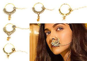INDIAN KUNDAN POLKI NATH NOSE RING CHAIN BRIDAL PARTY HOOP JEWELLERY BOLLYWOOD   eBay