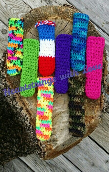 Crocheted popsicle koozies, gogurt holder, hot pan handle covers or flat iron covers!