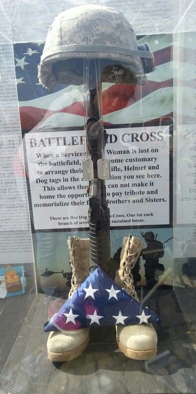 This is a Battlefield Cross that was displayed at my local AmVets thrift store this past Friday April 4, 2014 along with a memorial wall dedicated to the fallen soldiers & citizens from 9/11 & terrorism from 1983-2012. Very educational, interesting and touching. Thank you to those who began this wall two years ago which was only to be displayed once but has now been up for its 34th time and counting!!!! Thank you to the men and women who give their lives for our freedom!  God Bless America!
