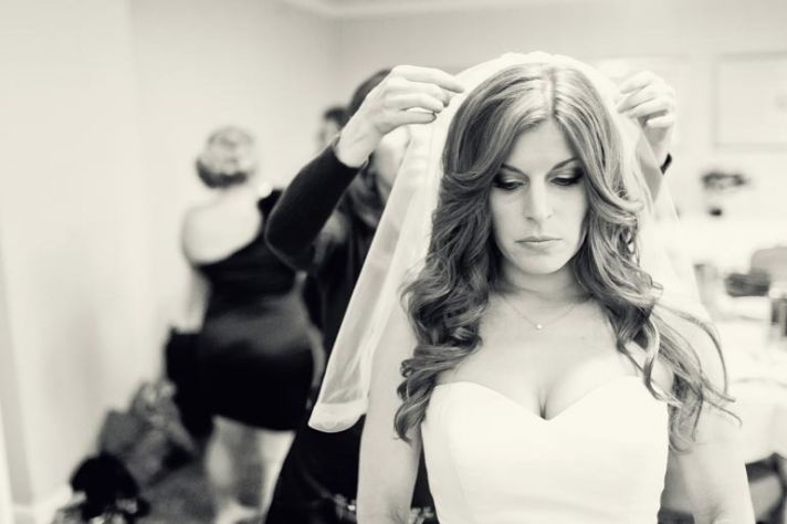 all down wedding hair wavy sweetheart wedding dress