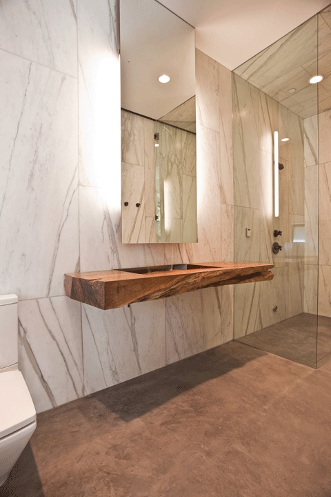 """This is how to make a statement with stone: large format marble slab on the wall.  -----  ANN SACKS Calacatta Borghini SP 30"""" x 72"""" marble slab in honed finish (designer: Billy Rose Design, architect: Assembledge+, photographer: Michael Weschler Photography)"""
