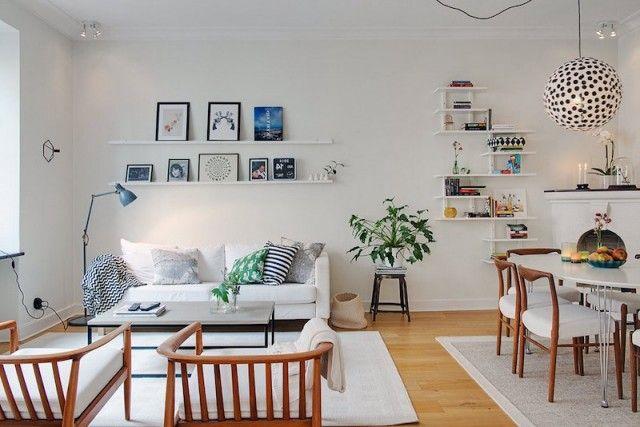 décoration scandinave salon ouvert-salle-manger-studio-blanc ... - Salon Ouvert Sur Salle A Manger