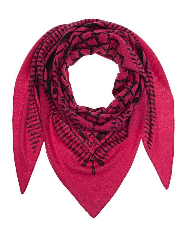 Dreiecks-Kaschmirschal mit Print Pinkfarbender dreieckiger Feinstrickschal in label-typischer handgefertigter Kufiya-Musterung aus weichem Kaschmir.  Ein kuscheliger Begleiter für kühle Tage...