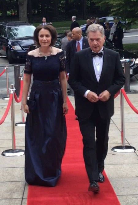 President Sauli Niinistö and mrs Jenni Haukio in Washington D.C. going to the Finnish Embassy to the gala held to celebrate 100-year-old independence of Finland/ Sept. 16, 2017