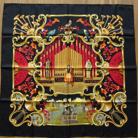 Vintage Hermès Orgauphone Jacquard Seidentuch Tuch von HappyFace313