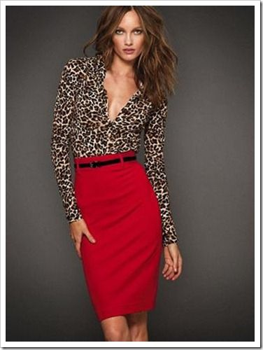 Red pencil skirt and leopard top. Something to do with my new red skirt!