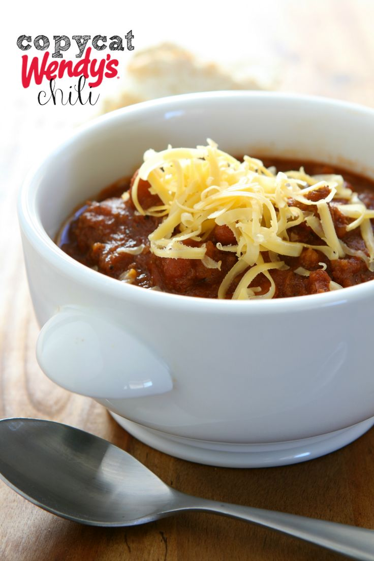 Copycat Wendy's Chili Recipe - not too spicy (although you can make it hot), and perfect for Fall! Add this to your chili recipes!