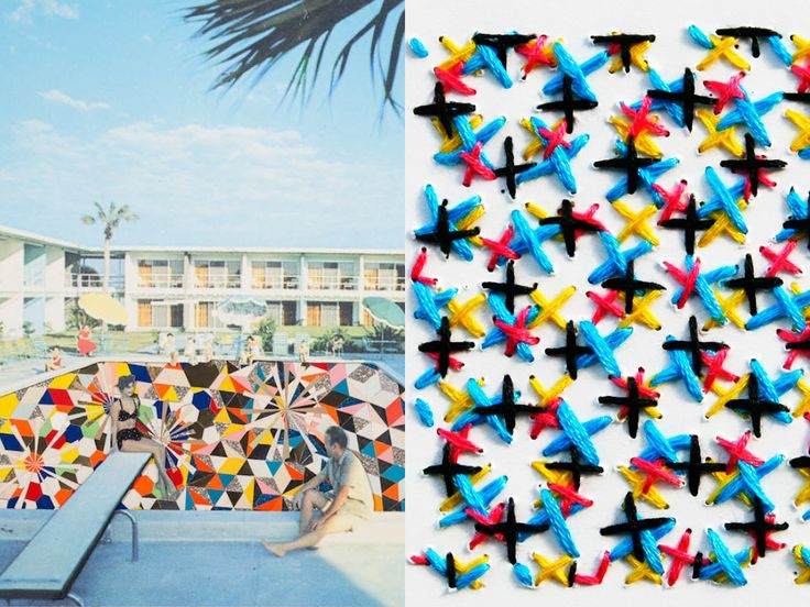 MOOD BOARD by Melanie Biehle and @nanych | THEME: PATTERNS | Left: Mixed Media Collage by Kelly O'Connor from Blinded By The Light (2014). Image via David Shelton Gallery. Source: The Jealous Curator. Right: Stitched CMYK Colour Chart, 2011 by Evelin Kasikov.