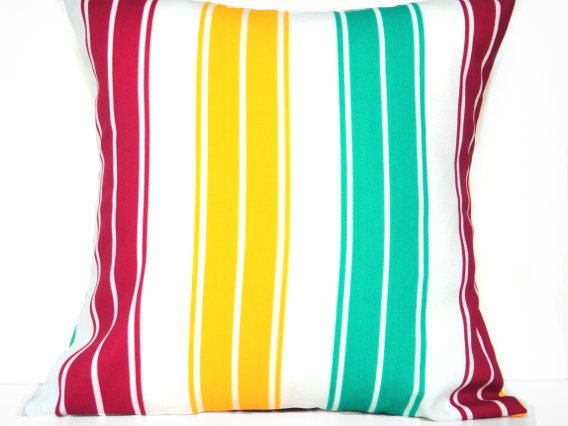 Cabana Stripes Pillow Covers Red Yellow Turquoise by PookieandJack