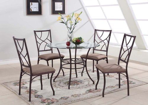 "5 PC. Set Kings Brand Round Glass & Metal Dining Room Kitchen Table And 4 Chairs. Beveled edge glass top,  Brown color microfiber cushion seat and Copper finish metal frame Dimensions : Table : 40"" x 30""H Chairs : 18"" W x 22""D x 39.5""H"
