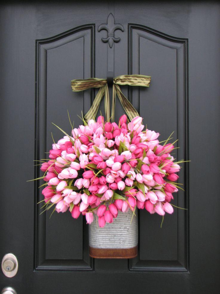Tulips Farmhouse Tulips Door Wreaths Spring Tulips Mother's Day Wreath Easter Wreaths Easter Tulips Trending Wreaths Shabby Chic Decor. $115.00, via Etsy.
