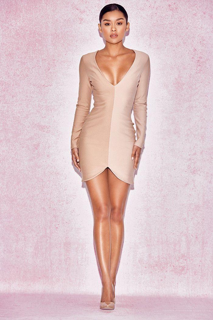 Clothing : Bodycon Dresses : 'Anjele' Nude Two Tone Dress
