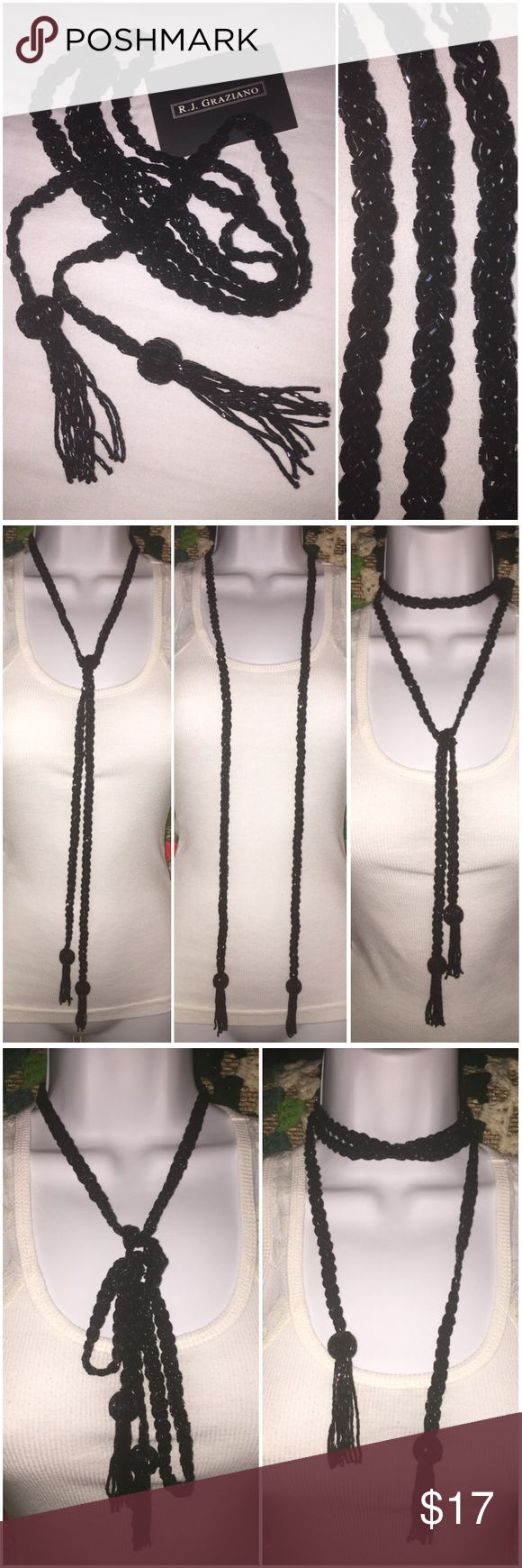 """R.J. Graziano black beaded lariat tassel necklace Gorgeous R.J. Graziano black beaded lariat tassel necklace. A timeless design captured in extraordinary detail. A Finely crafted creation from hand-fashioned black beads; with a braided design that ends in beaded balls with tassel dangle ends. So many ways to wear this lariat (some ways shown in pictures), very versatile! Compliments any wardrobe. Measures: 54"""" long. Brand new without tags, carded, in poly bag! R.J. Graziano Jewelry Necklaces"""