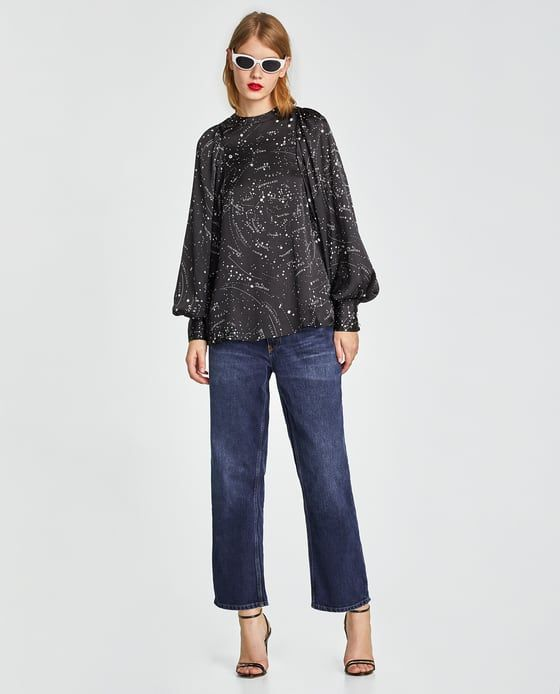 ZARA - WOMAN - PRINTED BLOUSE WITH PEARL BEADS