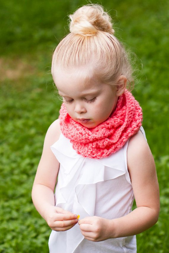 Baby or Toddler INFINITY Circle Scarf  neon coral by sophiezhappy