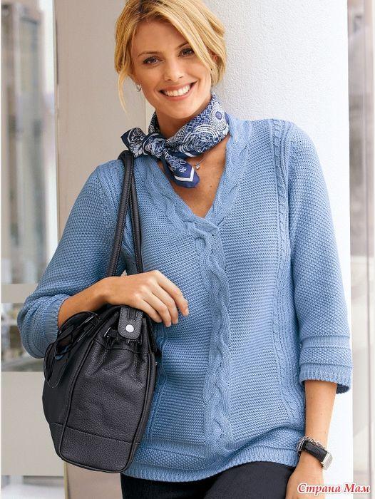 Пуловер цвета платины (с картинки каталожного журнала). Спицы.