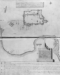 "Tha Alamo, as drawn in 1854.  ""The Battle of the Alamo (February 23 – March 6, 1836) was a pivotal event in the Texas Revolution. Following a 13-day siege, Mexican troops under President General ... Santa Anna launched an assault on the Alamo Mission near ... modern-day San Antonio. All but two of the Texian defenders were killed. Santa Anna's perceived cruelty during the battle inspired many Texians—both Texas settlers and adventurers from the United States—to join the Texian Army."""