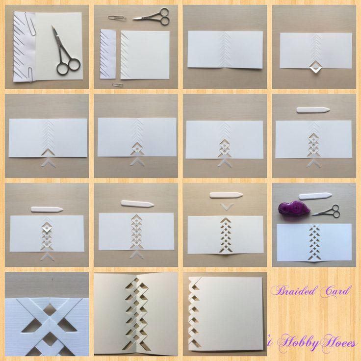 Braided Card Technique Tutorial. Stap voor stap. Zie ook de instructievideo van Brandy Cox. Met dank aan haar prachtige creaties! Het laatste losse stukje, dat opgeplakt dient te worden staat netter,indien het aan de binnenkant van de kaart wordt geplakt.  't HobbyHoees  25 feb 2015