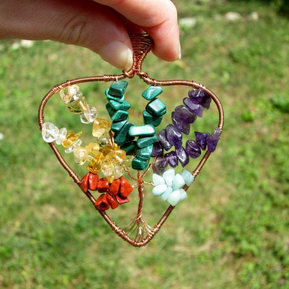 multicolor tree of life pendant fashion style boho gift for her heart  by FloralFantasyDreams on Etsy