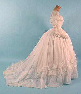 Original Civil War Era Sheer Wedding Gown!  Beautiful!!!