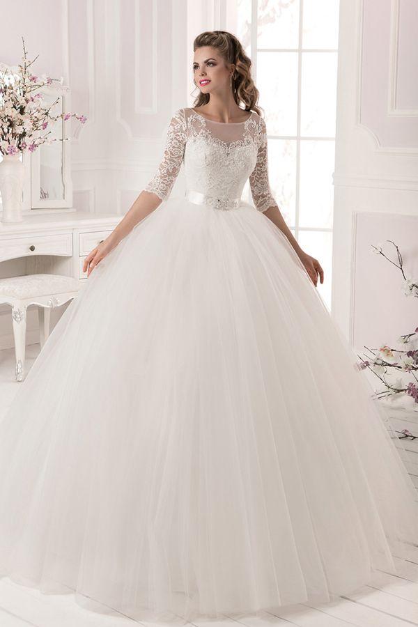 192 50 Marvelous Tulle Lace Bateau Neckline Ball Gown Wedding
