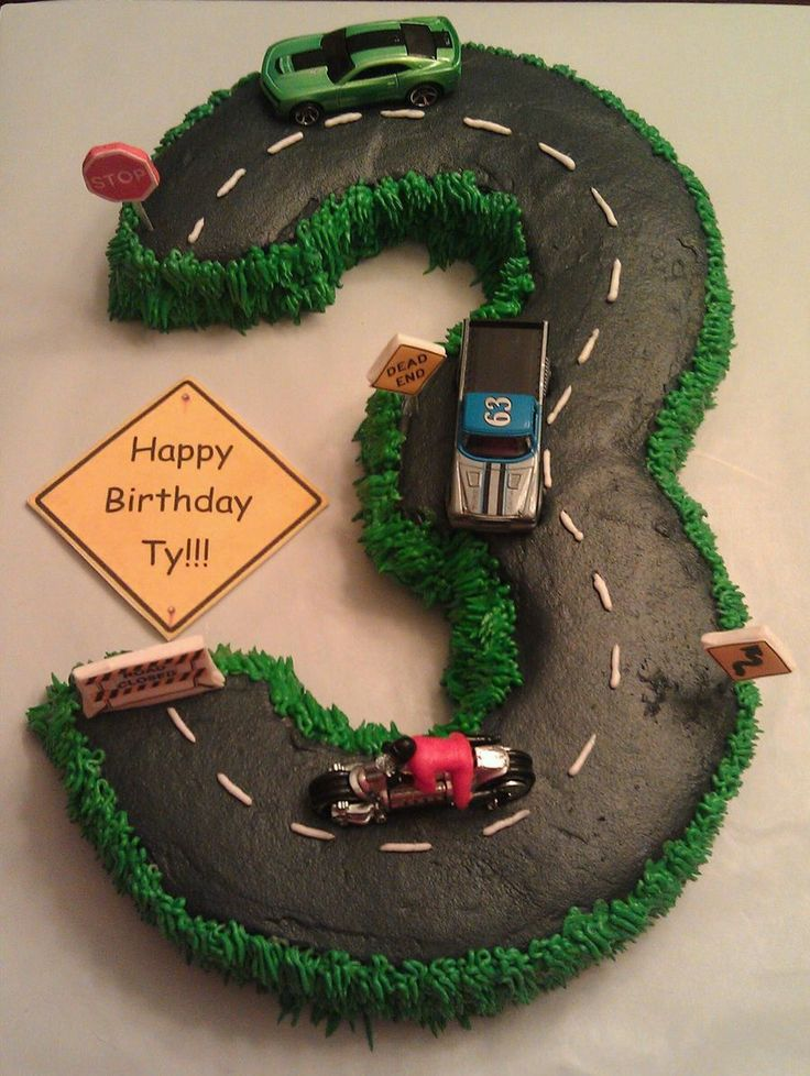 Number 3 Cake Road Cars  on Cake Central