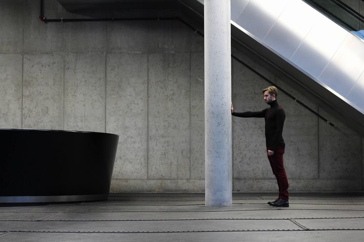 What about this pose? Industrial environment contrasts with this premium #merino wool #turtleneck, the model is wearing. Cold architecture versus warm clothes. Interesting, huh?