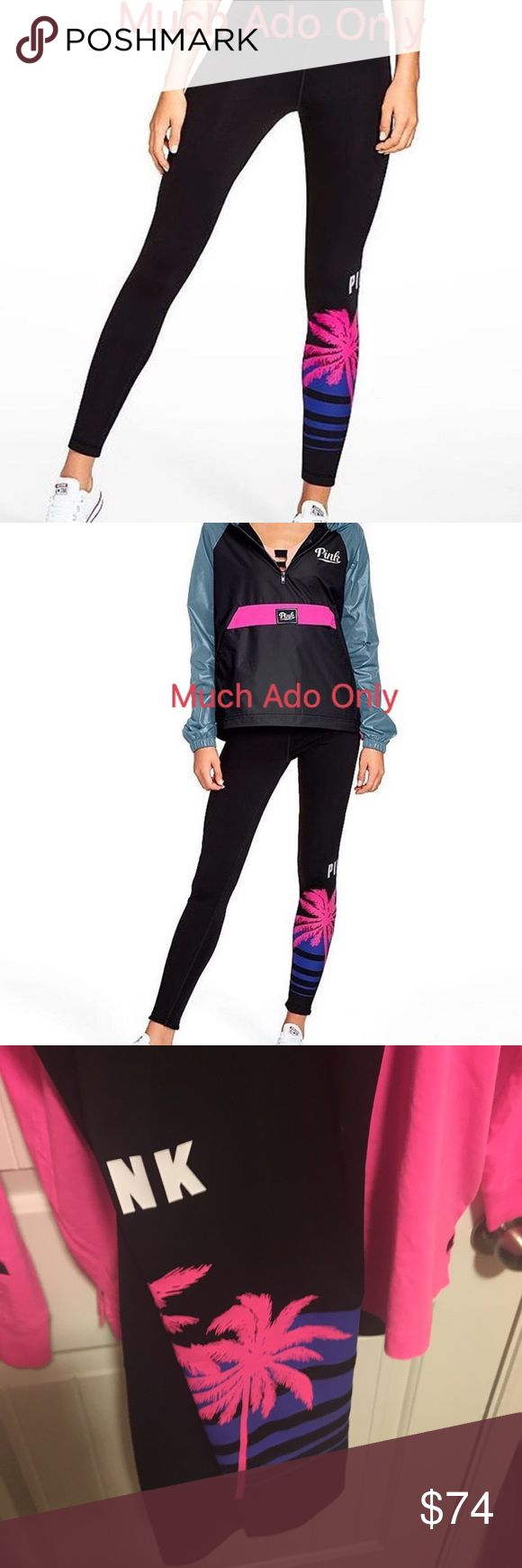 """NWT VS PINK High Waist Ultimate Leggings Only L Brand New Spring Break 2017 Collection!  PINK Ultimate Leggings in Palm Tree Print Large ❌Freebie with purchase❌  Super smooth and fit to flatter, this Ultimate Legging features a high waist and sporty piecing details, plus quick-dry 4-way stretch that wicks away sweat and is breathable during workouts.   High waist Premium quick-dry 4-way stretch fabric Available with faux leather and mesh piecing details 28"""" inseam Imported…"""